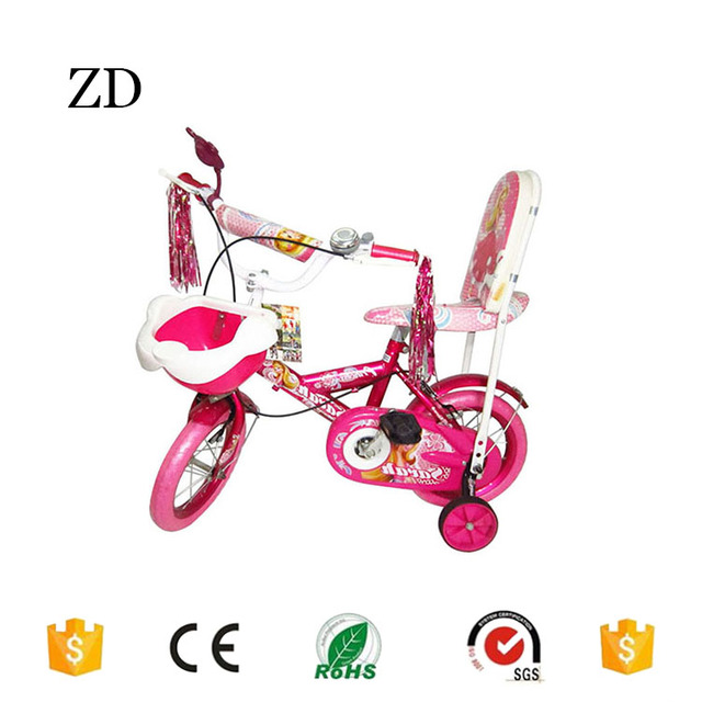 Hebei Zandi factory plastic tire cheap kids bikes two seat 12 14 16 18 20 pink red blue princess style girls children bicycle
