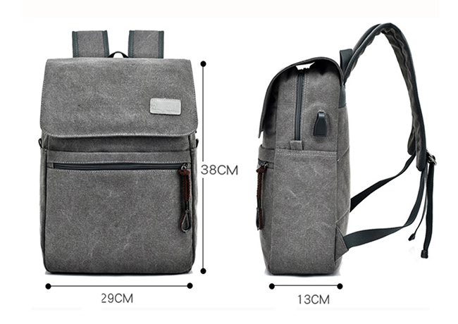 CYSHMILY New Fashion Canvas Travelling USB Charging Vintage Canvas Backpack School Anti-Theft Laptop Bag