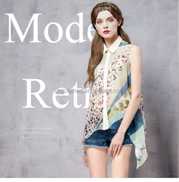 Modern retro summer new hit color printing irregular hem shirt saree blouse designs for office