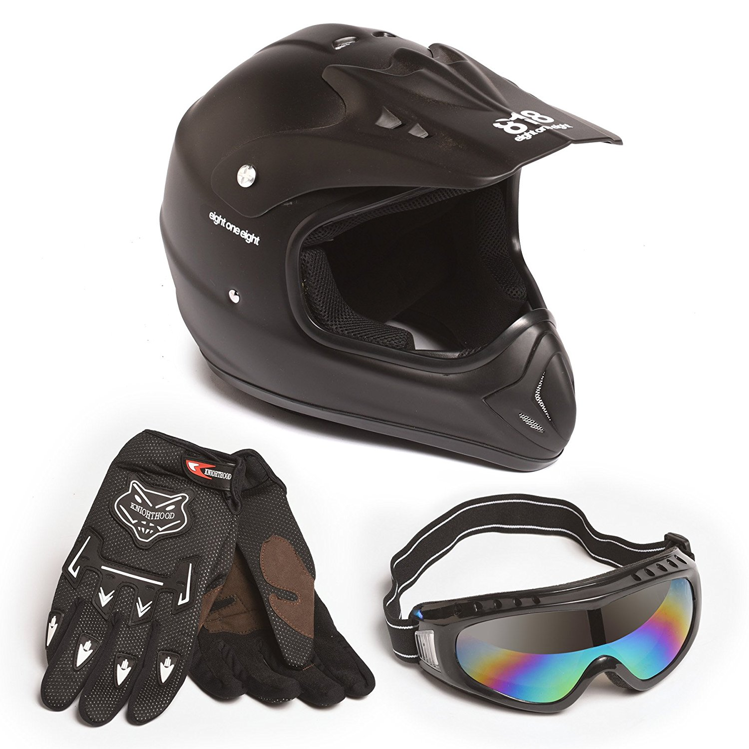 Adult MX Offroad Helmet COMBO Pack includes Offroad Helmet Gloves Goggles for Motocross ATV Dirt Bike BLACK (XLarge) (Large) (Large) (Small) (Large) (Large) (Large) (Large) (Medium)