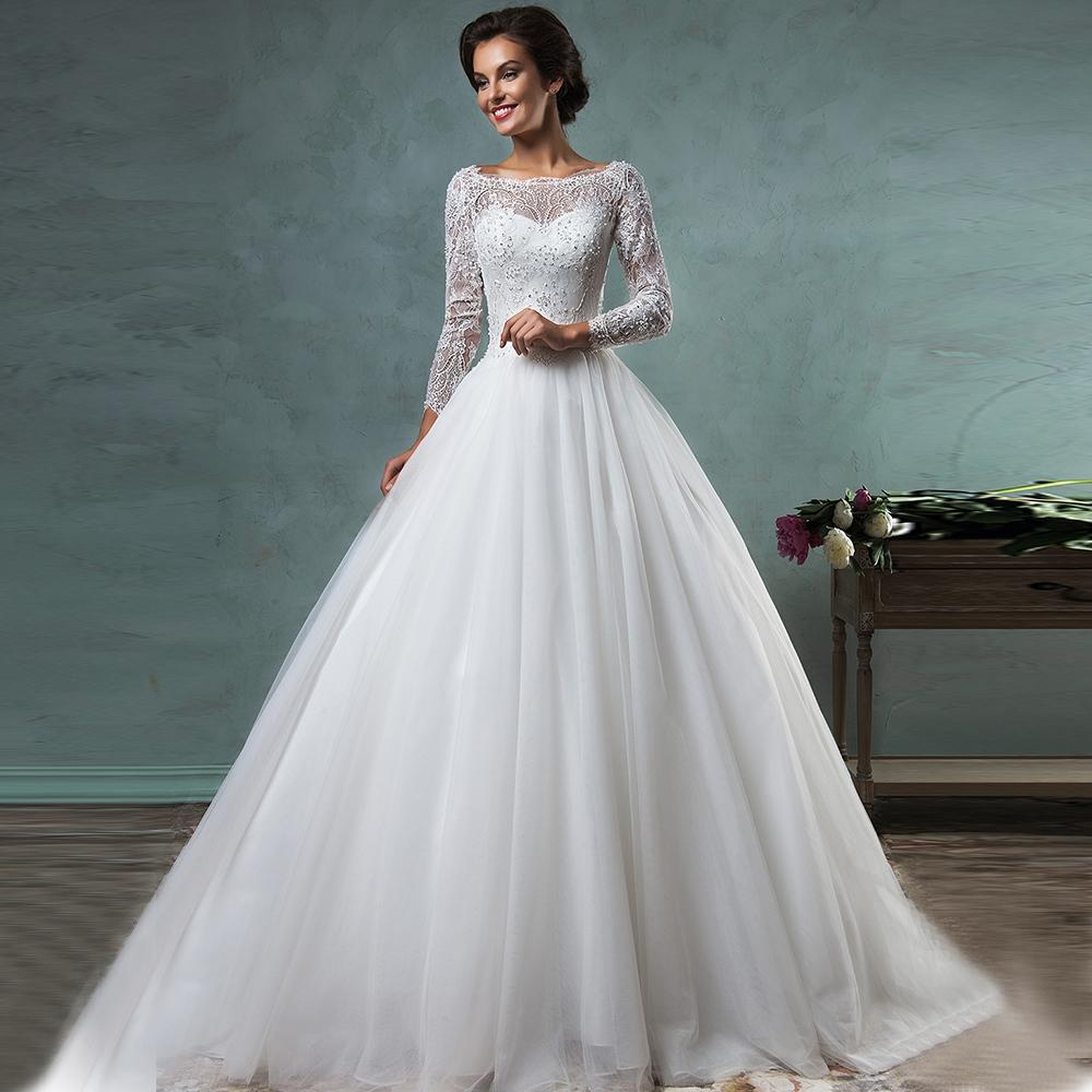 Wedding Dresses 2016 Romantic White Long Sleeve Lcae Princess Wedding ...