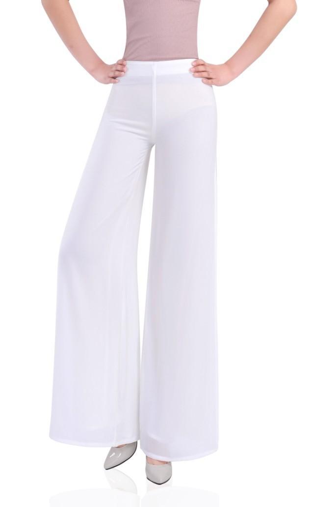 f671cea321ab Get Quotations · 2015 summer women back Zipper wide leg chiffon harem pants  white side split trousers Ladies sport