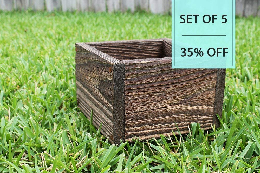 "Bulk Set of (5) 4"", 5"", 6"" Square Rustic Farm Planters Box (3.25"" - 3.75""T - Short Version)"