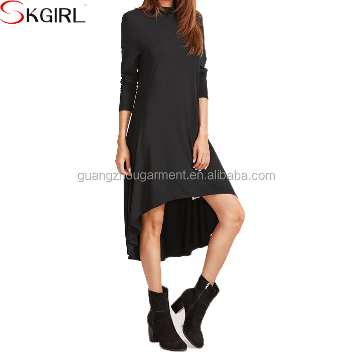 9f178ba50679 Women's autumn winter full long sleeve cowl neck short front long back  fashionable casual loose swing