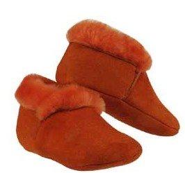 Orange Sheepskin baby slippers