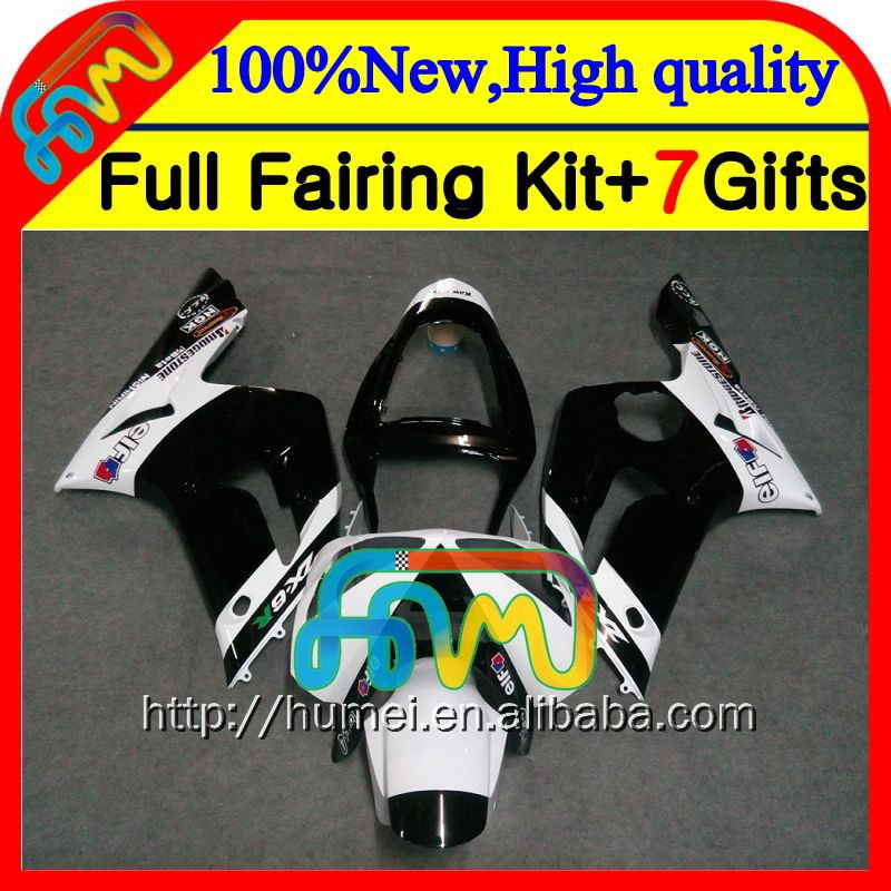 Body For KAWASAKI Black white NINJA 03-04 ZX-6R 03 04 ZX 6 R CL8103 ZX 6R black white 636 2003 2004 ZX6R ZX636 Fairings