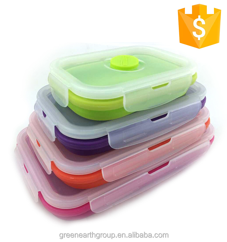 Refrigerator and Microwave Oven Safe Foldable Lunch Box Silicone Kitchen Food Storage Containers 4 Sets