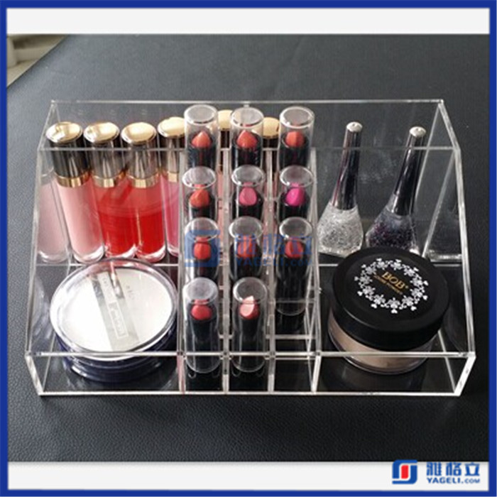 Hot!! cosmetic tray with lipstick, brushes compartments / custom acrylic tray with dividers