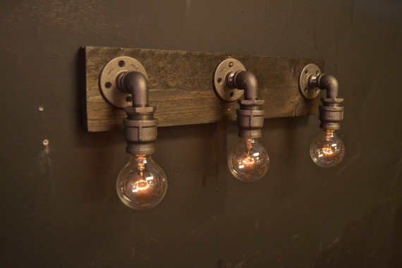 industrial chic lighting. 6.27-4 Farmhouse Reclaimed Wood - Industrial Chic Bathroom Lighting Fixture Wall D