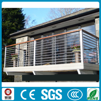 Modern balcony wrought iron railing with top wood handrail - Modern balcony railing design ...