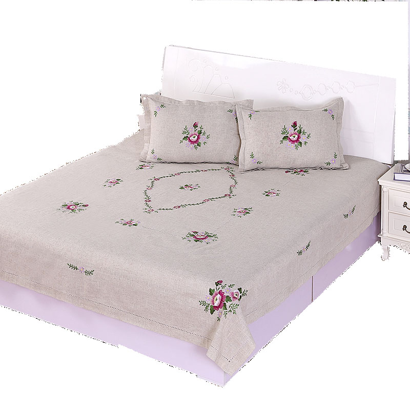 Lu embroidery rustic hemp bedding three piece set twinset handmade embroidery bed sheets laguan bedspread bed cover