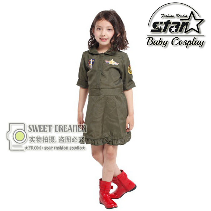 Carnival font b Children b font Kid Cool Girls Pilot Military Air Force Captain Green Cosplay