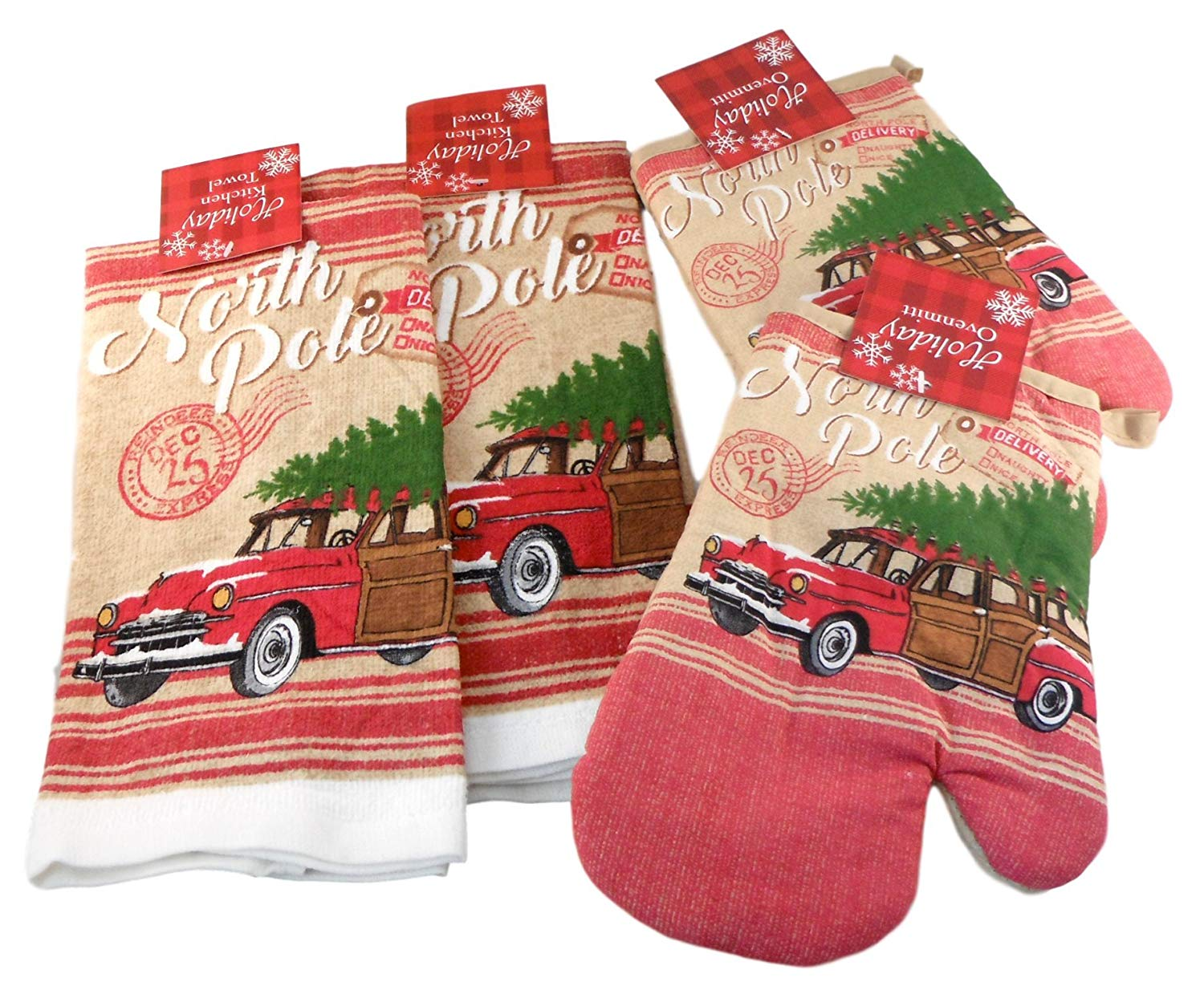 Mainstream Winter Holiday Towels and Oven Mitts - Bundle of 4 Items: 2 Dish Towels and 2 Oven Mitts (North Pole - Old Red Woody and Christmas Tree)