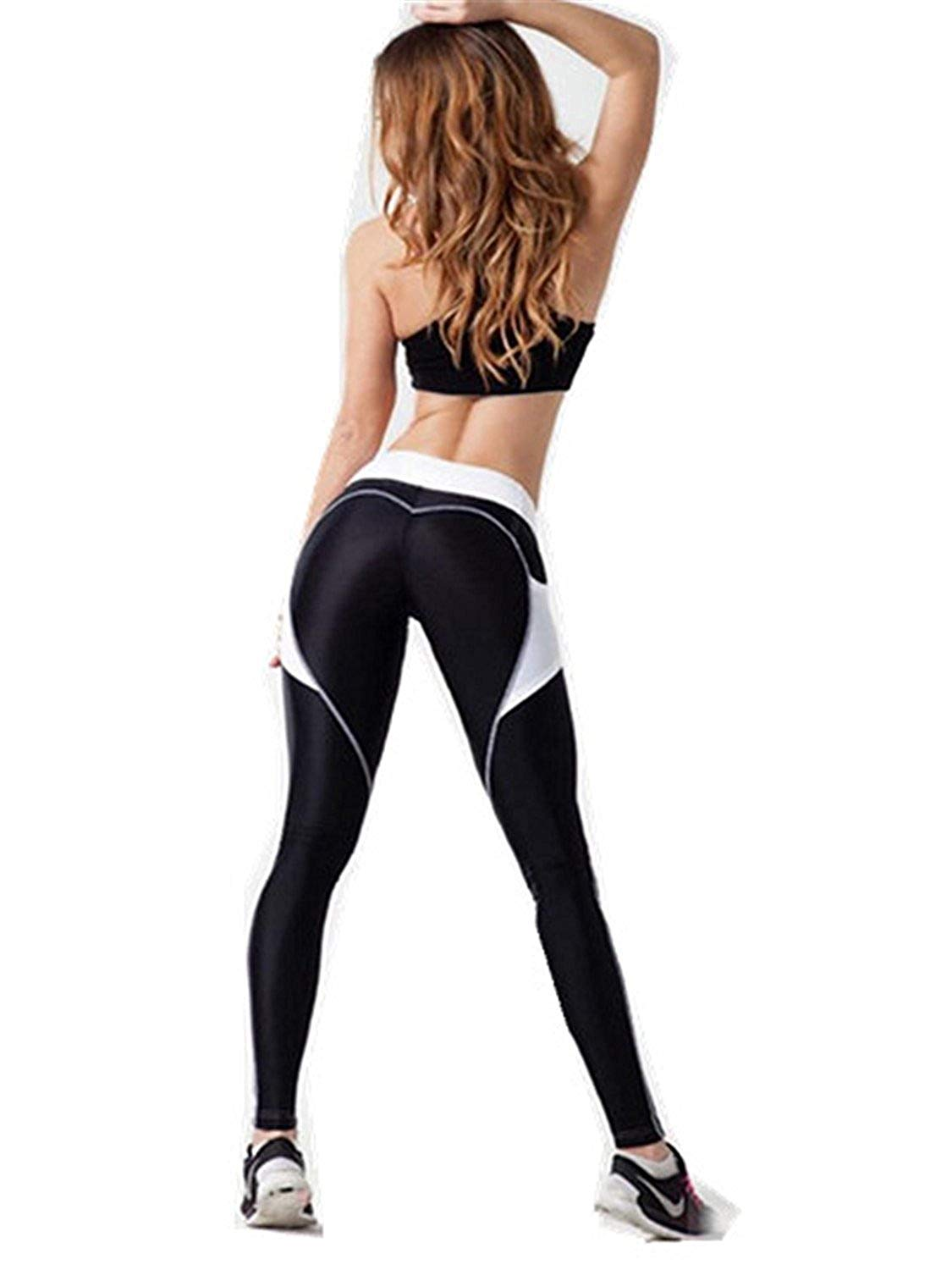 77bbebeb2c2 Get Quotations · YUZHONGYWAN Stylish Women Heart Pattern Side Pocket Splice Leggings  Harajuku Elastic Waist Gyming Leggins