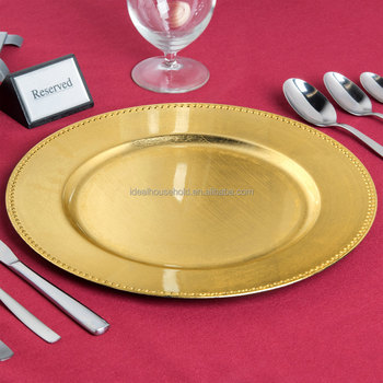 EaMaSy Party 13 '' Gold Runde Kunststoff Ladeschale mit Perlen