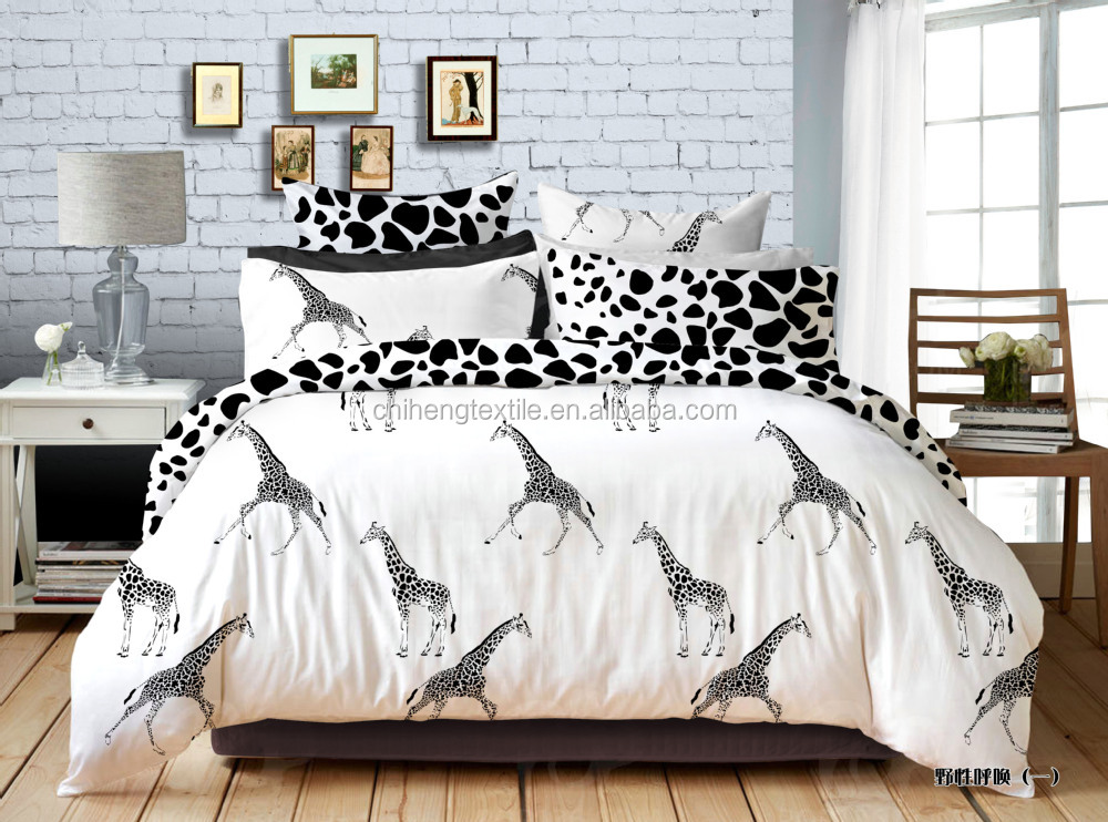 Black And White Giraffe Bedding Sets 100% Cotton Bed Sheets