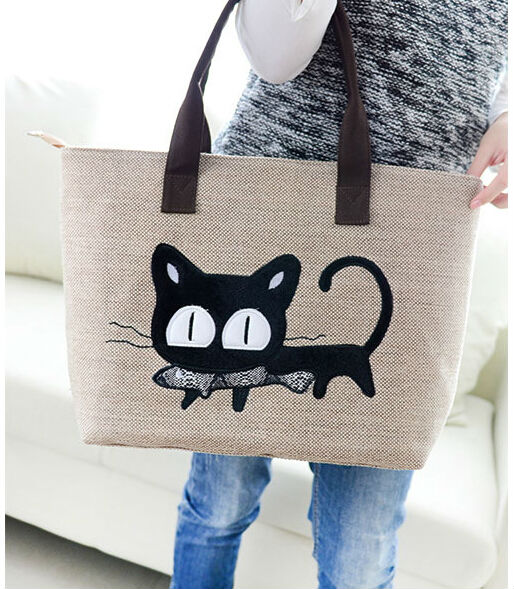 1316c4870d 2014 New Product Ladies Cloth Handbags With A Cute Cat Printed - Buy Ladies  Cloth Handbags