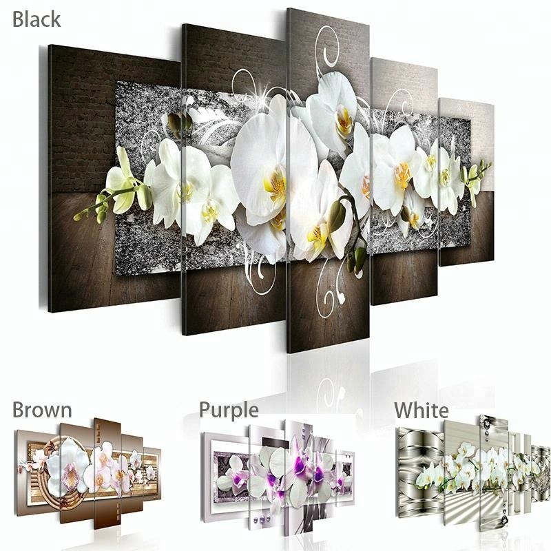 Framed Fashion Wall Art canvas <strong>pictures</strong> 5 sets Mangnolia Flower Orchid Flower Modern Home Wall Decor for Living Room Gift