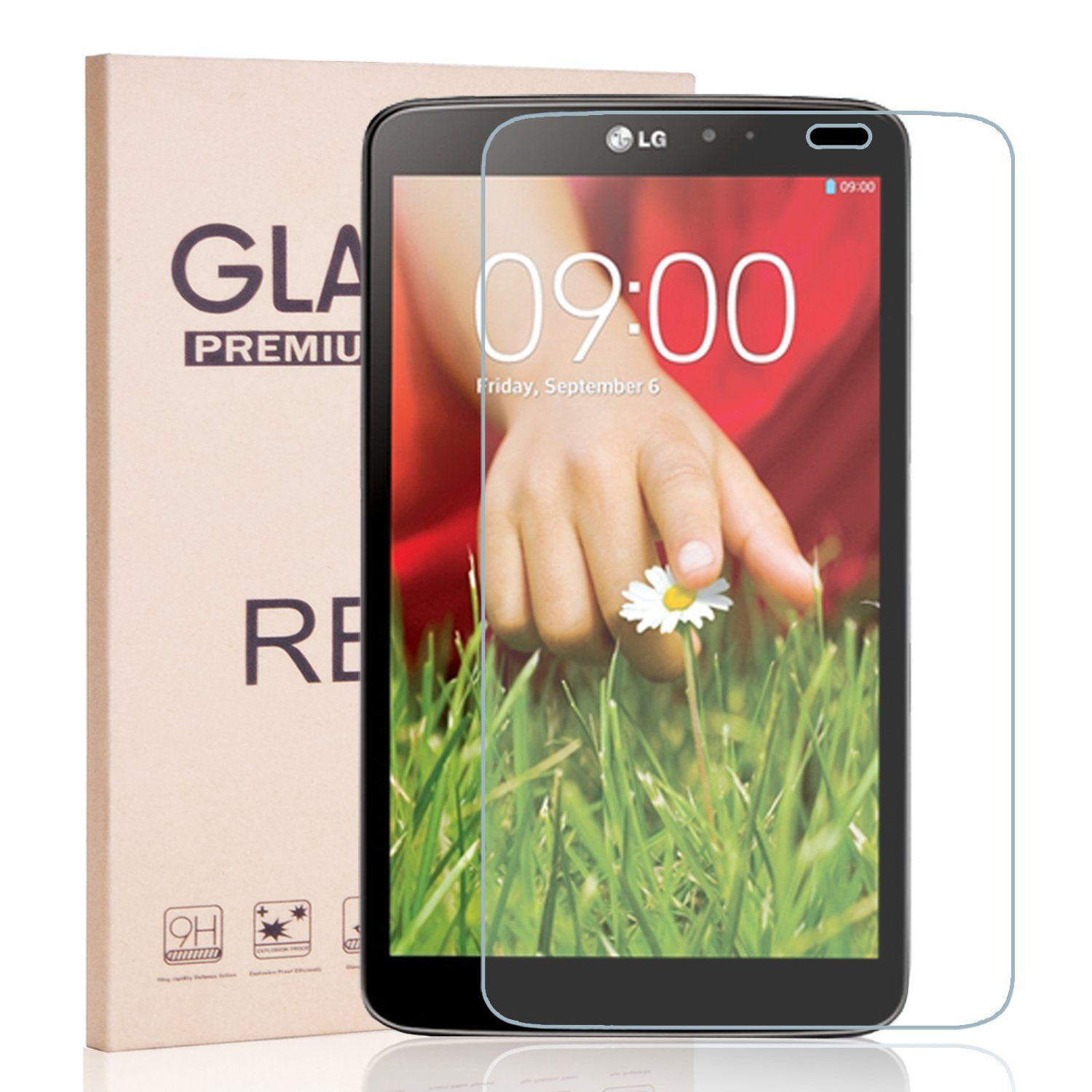 LG G Pad 8.3 Inch V500 Tempered Glass Screen Protector - RBEIK Premium 9H Hardness Tempered Glass Screen Protector for LG G Pad V500 8.3Inch Tablet with Anti-Scratch, Bubble Free,