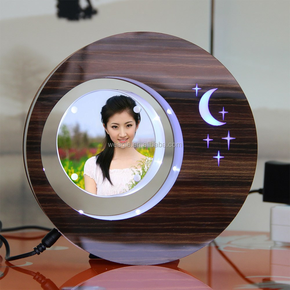 LED suspending in the air magnetic levitation photo frame wedding table <strong>gift</strong> for guests
