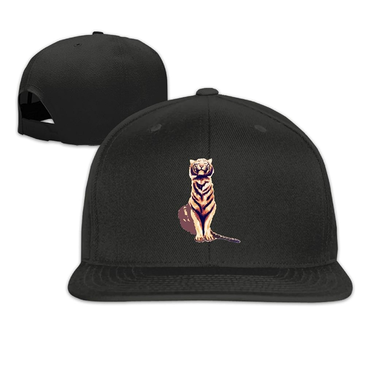 Get Quotations · Tiger With Cheetah Print Men s Leisure Flat Cap Snapback  Graphic Flat Brim Baseball Hats 696db5ea477d