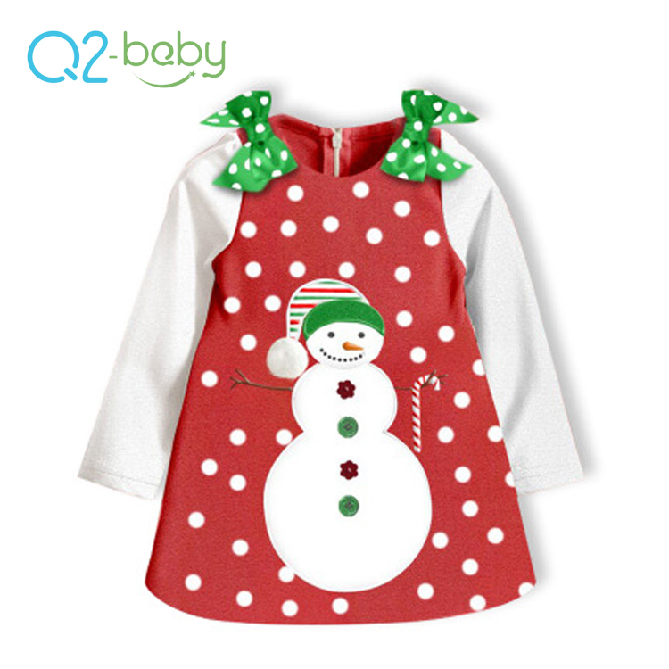 Q2-baby New Product 2018 Christmas Long Sleeve Red Clothes Baby Girls Christmas Dress