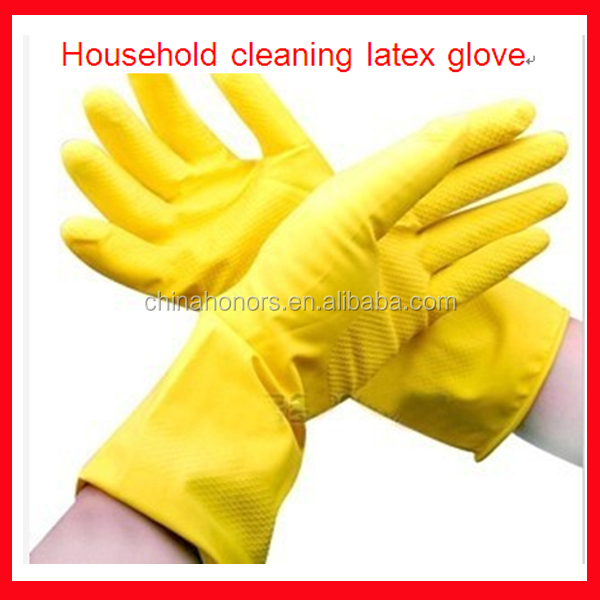 Fashion Yellow Household Kitchen silicone PVC Gloves for home Rubber Latex Gloves