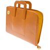 Genuine leather zipped portfolio briefcase