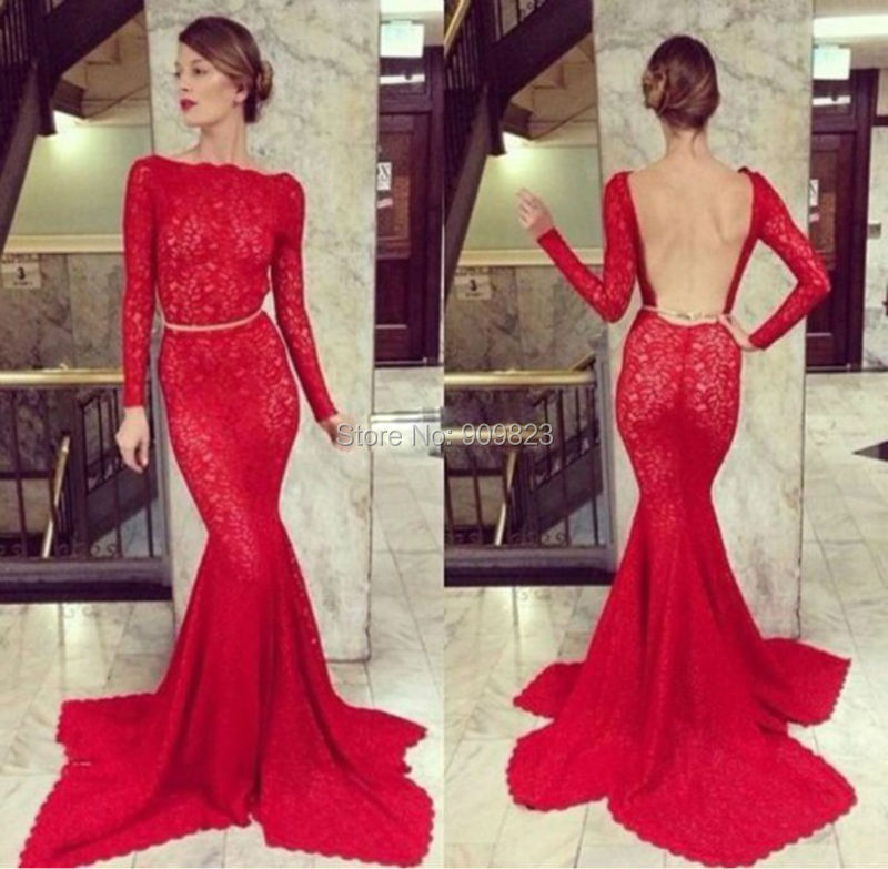 Sexy Lace Long Prom Dress 2016 Long Sleeves Backless Mermaid Red Lace Elegant Maxi ...