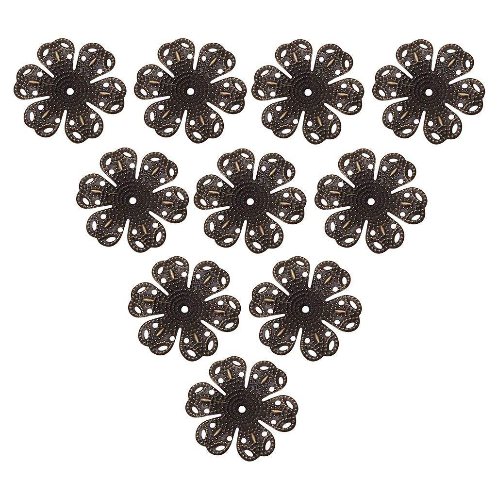 6mm Antique Copper Metallic Shipwreck Beads Electroplated Brass Bead Cap Filigree 40-Piece