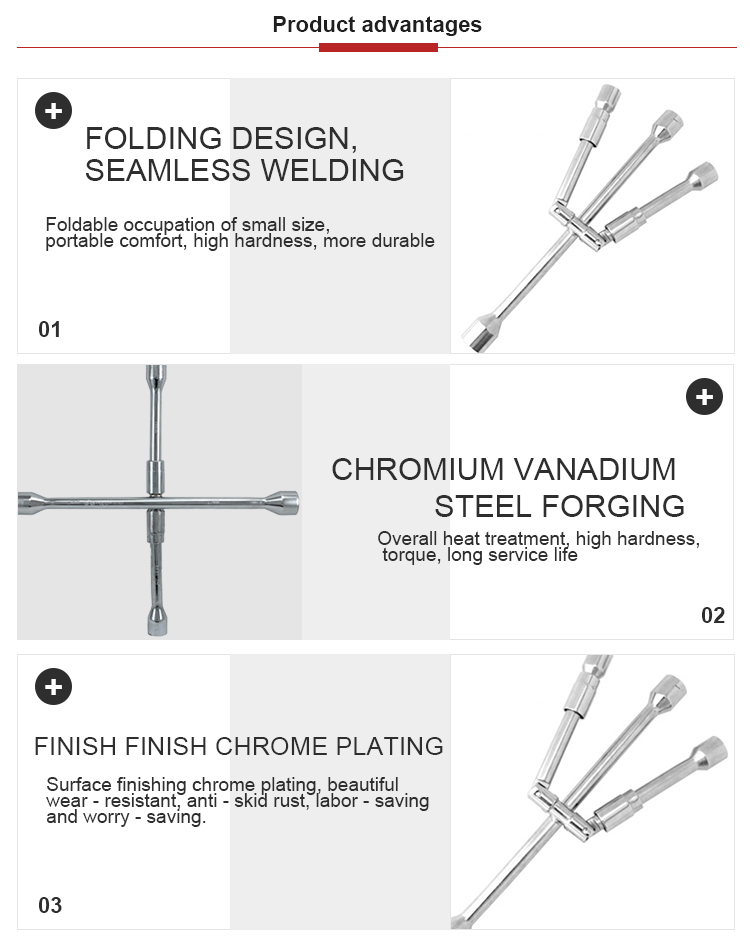 Sand blast chrome Folding cross wrench