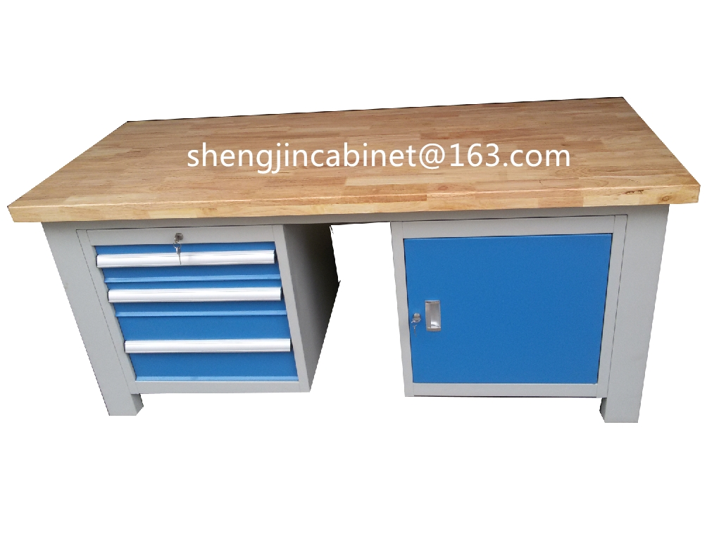 Factory price stainless steel work table with top wooden