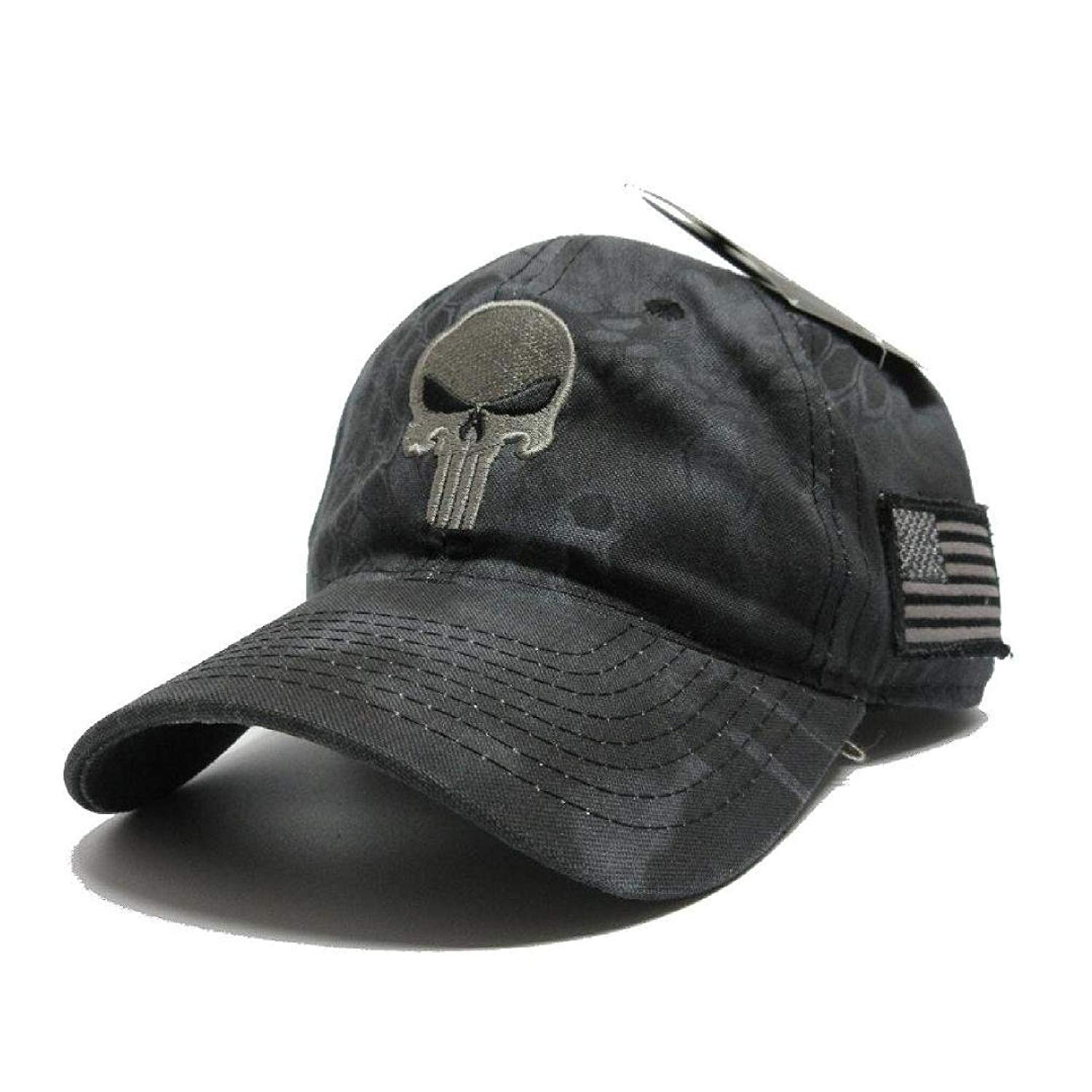ccf2632132d52 Get Quotations · Military imagine Kryptek Punisher Skull camo Hat Gray w US  Flag Patch Cap Tactical