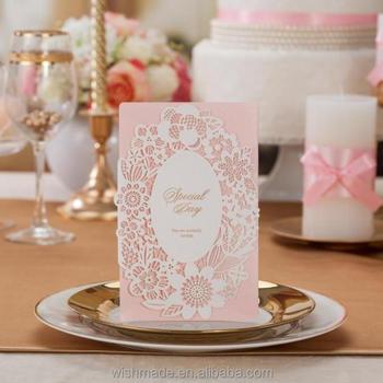 Unique laser cut flower wedding invitation card in soft pink cw018 unique laser cut flower wedding invitation card in soft pink cw018 stopboris Choice Image