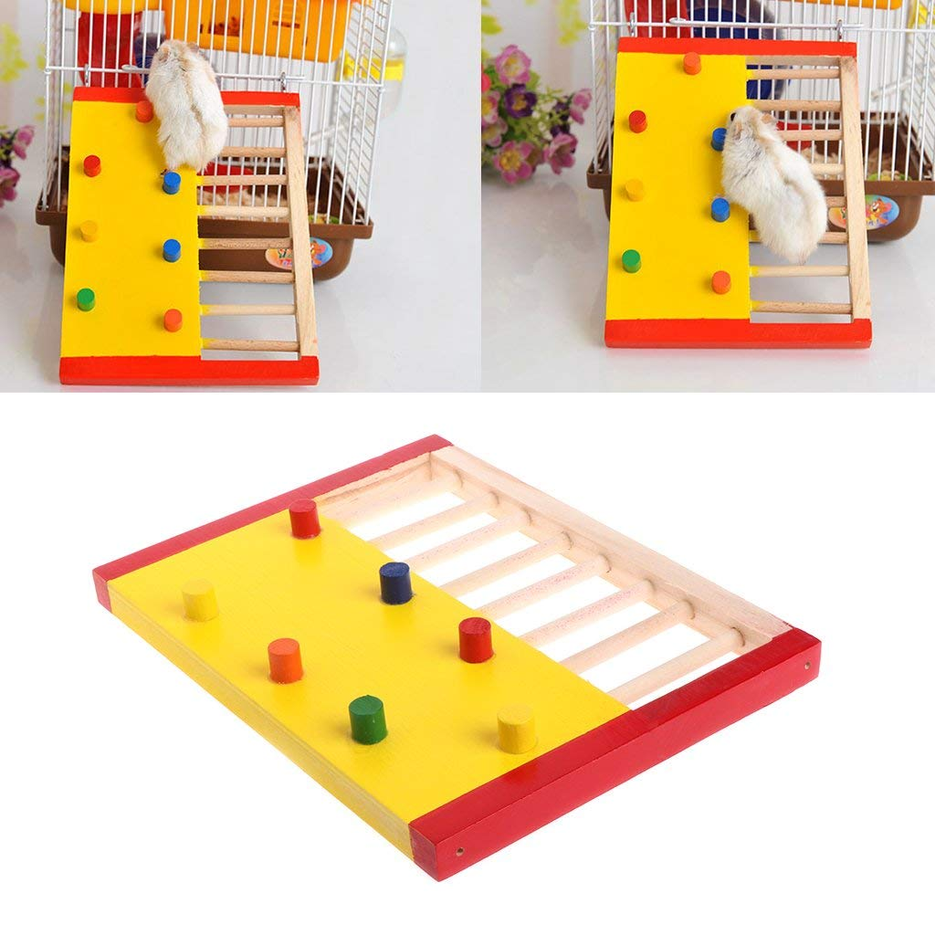 NNDA CO Hamster toys,Pet Rat Hamsters Toys Natural Wooden Colorful Scaling Jumping Climbing Ladder Fun Play Toy