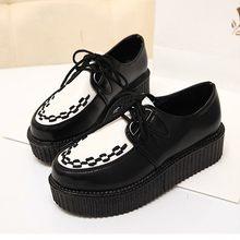 Женские криперы на плоской платформе, повседневные однотонные туфли на шнурках, с круглым носком, большие размеры до 41, 2020(Китай)
