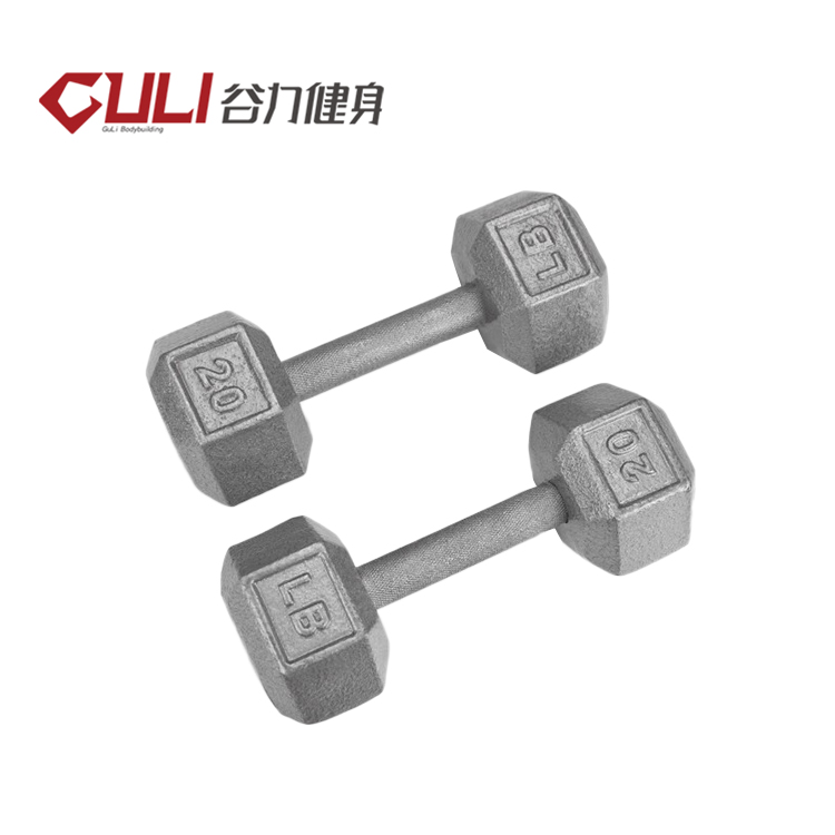 Warna PE Cement Dumbbell Hex Dumbbell dari Cina 15Kg Dumbbell Set