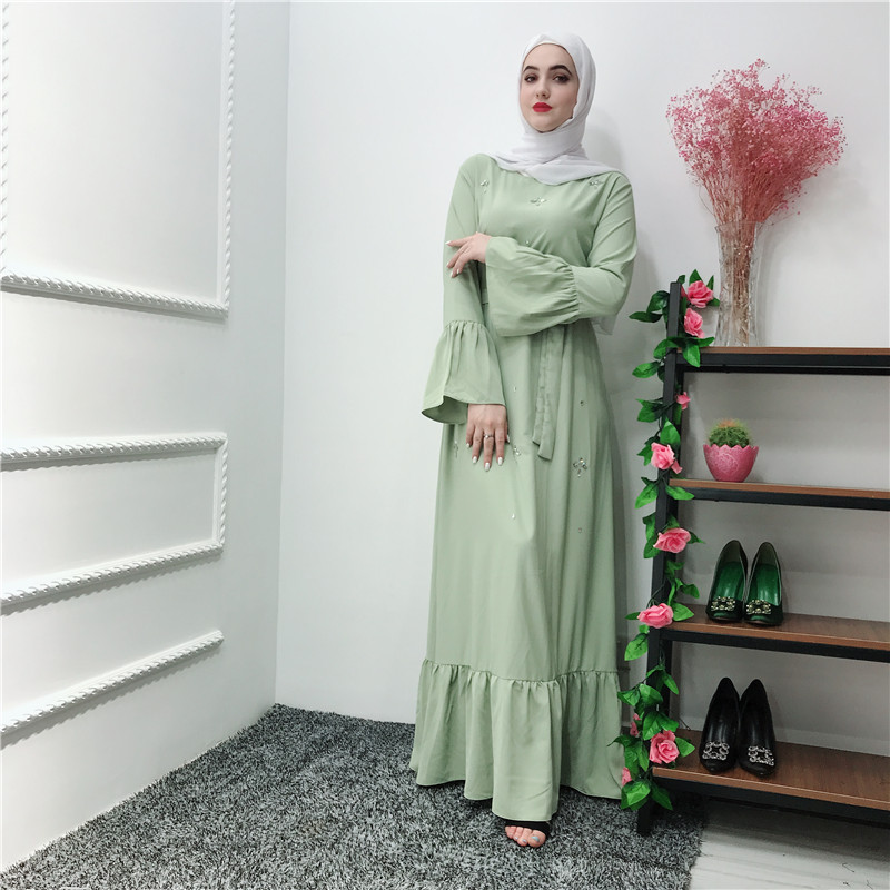 2019 New style high quality women abaya islamic clothing mint green nida muslim dress