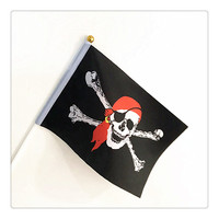 Cheap Custom Polyester Pirate hand waving flag