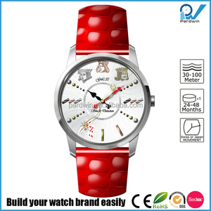 Shine red genuine leather band Japanese Miyota GL30 movement modern ladies fancy watches with strap for girls