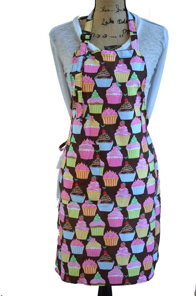 Cotton Women Kitchen Apron with Pockets and Cute Apron for Cooking, Baking,Cute Apron for Cooking, Baking, Gardening, Crafting, BBQ-All Over Cupcakes Print Colorful Cakes Print Mommy Adult Apron