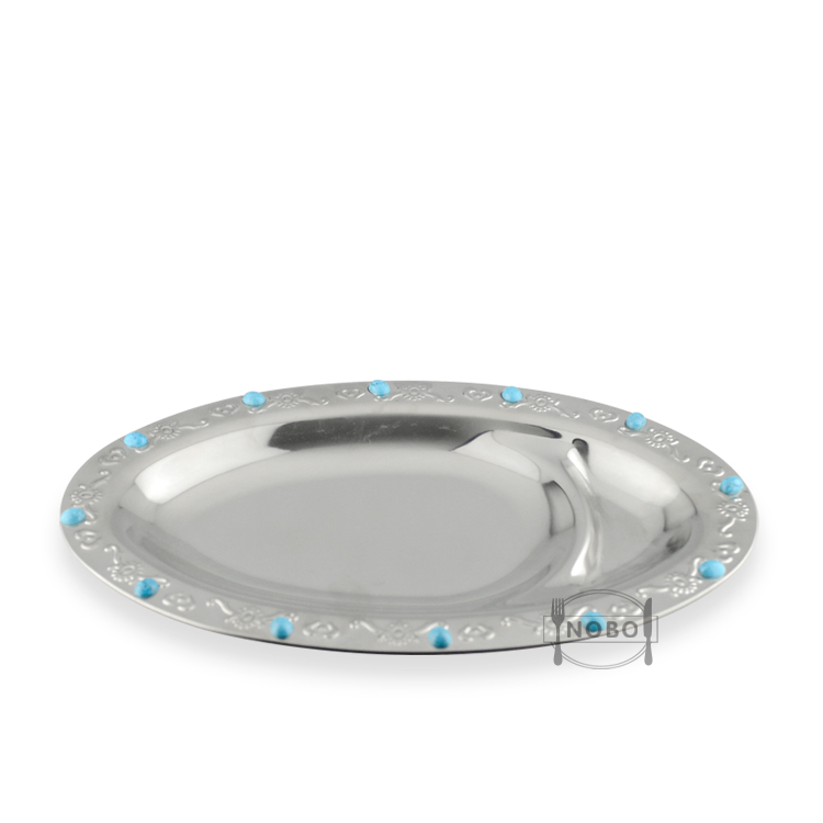 NOBO Popular colorful wholesale price stainless steel snack divider oval plate