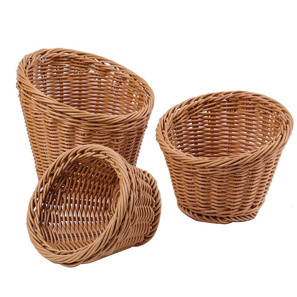 AODEW Bread Fruit Woven Roll Baskets Wicker Basket Fruit Basket Bread Tray Food Serving Baskets Fruit Basket Bread Tray Storage Basket