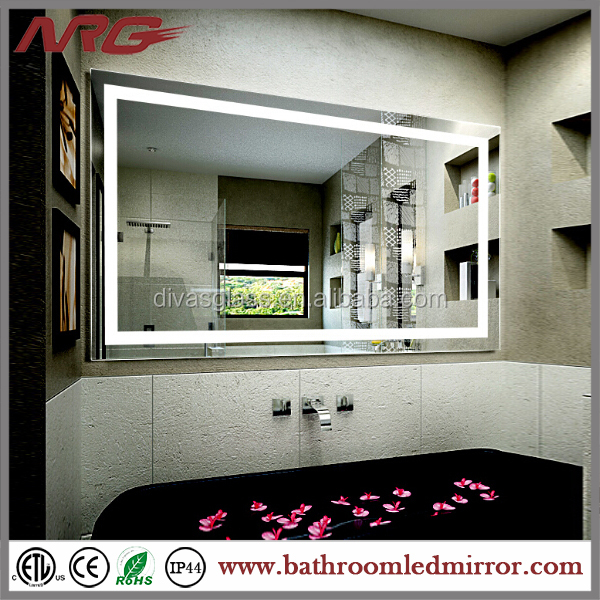 Rectangle Bathroom Backlit Mirror Light With Adjustable Shelf