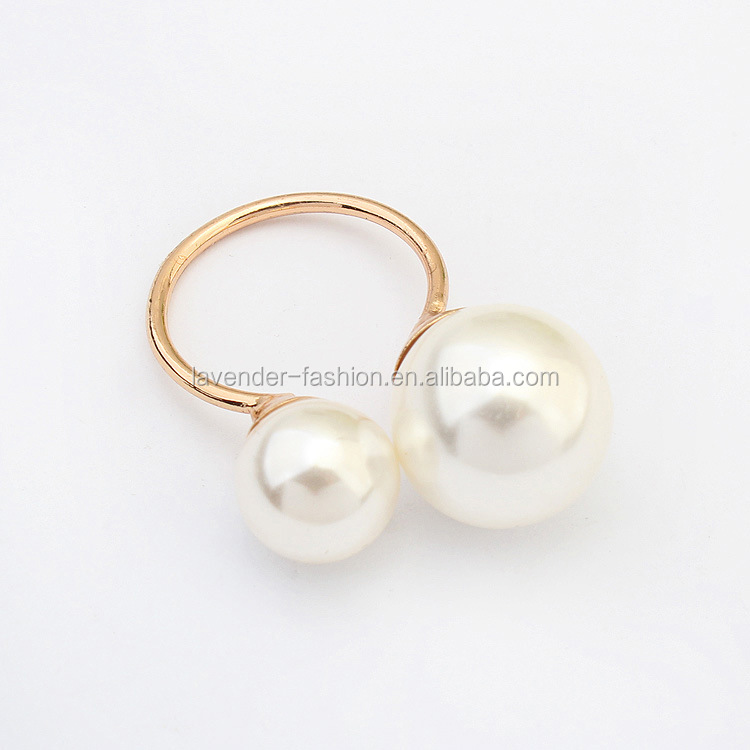 Yiwu wholesale simple rings Asymmetrical double pearls rings open adjustable gold rings for ladies