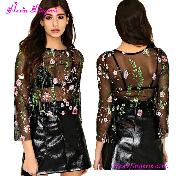 1042cc2d3d 2017 nueva moda floral bordado transparente negro malla blusa para las  mujeres o-cuello manga
