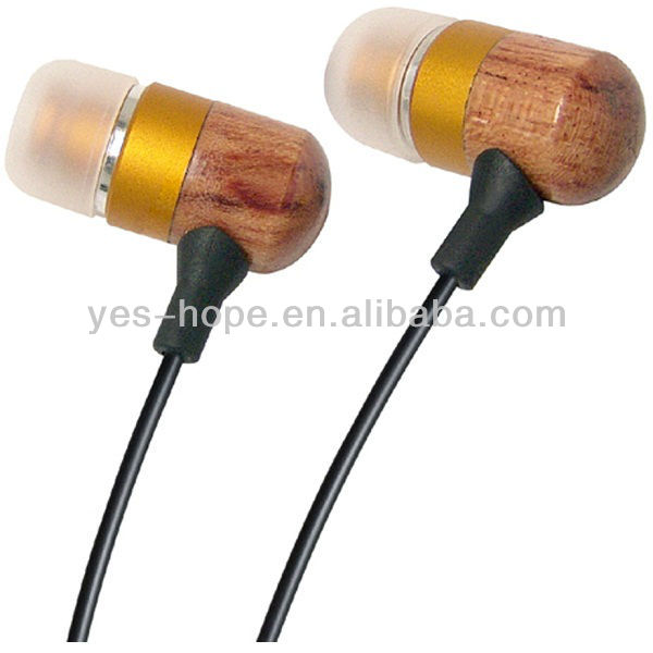 Promotional earbud wood with 3.5mm stereo for iphone/Samsung