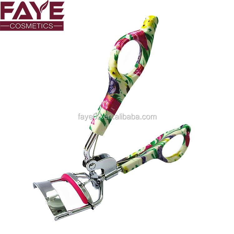 Fancy camouflage plastic handle silvery carbon stainless steel care travel eye lash curler
