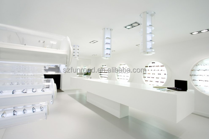 Retail store glass furnitures glass eyewear shelf sunglasses display showcase glass cube displays