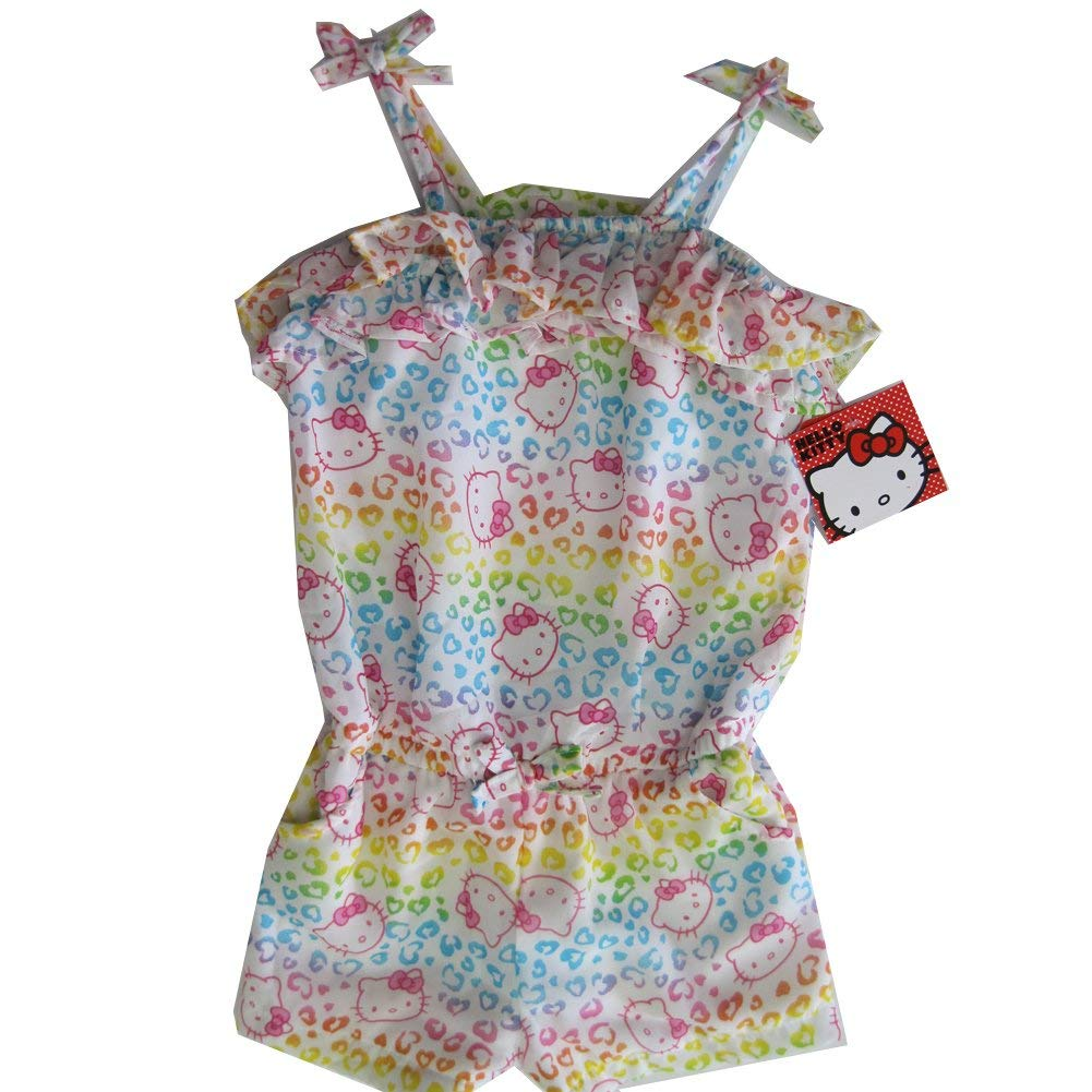 Hello Kitty Little Girls White Spotted Ruffle Strappy Short Romper